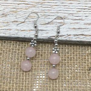 Handmade Rose Quartz Pink Earrings